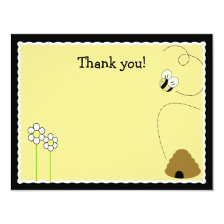 """Bee Happy Bumblebee *Matte Finish* Thank you card 4.25"""" X 5.5"""" Invitation Card"""