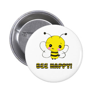 Bee happy pinback button