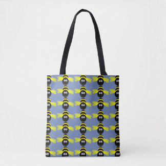 Bee Happy cartoon bee pattern blue B/G Tote Bag