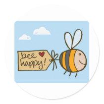 Bee Happy Classic Round Sticker