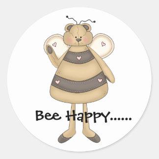 Bee Happy...... Classic Round Sticker