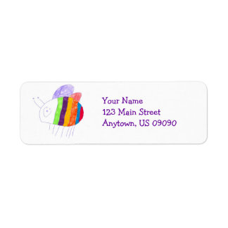 BEE Happy Colorful Bumble Bee Address Label