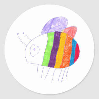BEE Happy Colorful Bumble Bee Classic Round Sticker