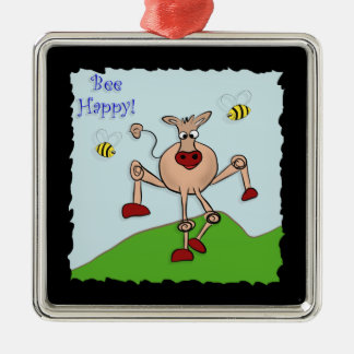Bee Happy Cow Metal Ornament