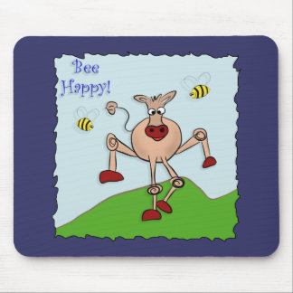 Bee Happy Cow Mouse Pad
