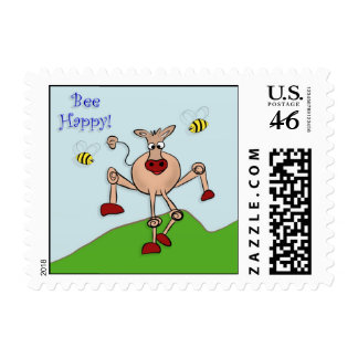 Bee Happy Cow Postage Stamp