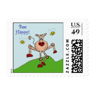Bee Happy Cow Postage Stamps