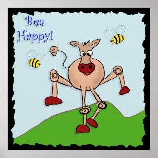 Bee Happy Cow Print