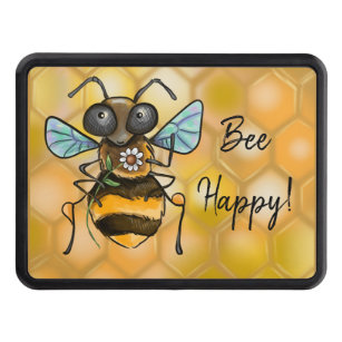 Personalized Custom 2 Line We Go Together Like Tea and Honey with Bee and Teacup Best Friend Oval Tow Trailer Hitch Cover Plug Insert