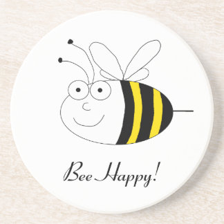 Bee Happy! Cute honeybee coaster