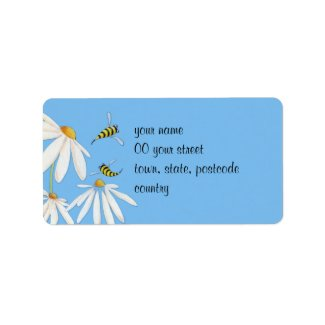 Bee Happy Daisies Address Label label
