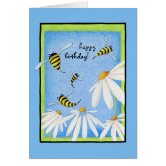 Bee Happy Daisies Birthday Card