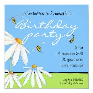Bee Happy Daisies Birthday Party Invitation
