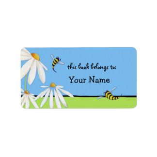 Bee Happy Daisies Bookplate Label