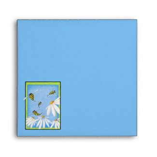 Bee Happy Daisies Invitation Card Envelope envelope