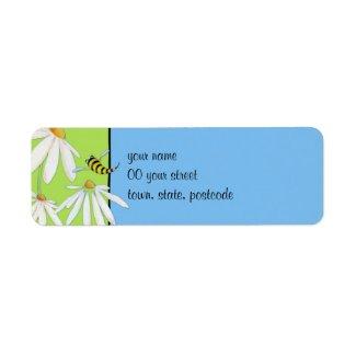 Bee Happy Daisies Return Address Label label