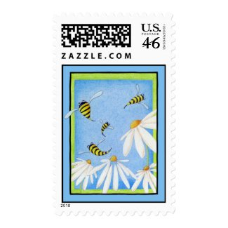 Bee Happy Daisies Stamp stamp
