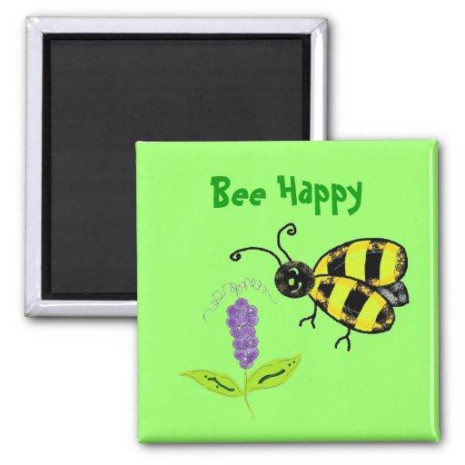Bee Happy Fridge Magnet