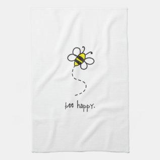 Bee Happy Kitchen Towel. Towel at Zazzle