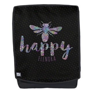 Bee happy Modern Typography Concept Design Backpack