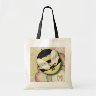 Bee Happy Personalized Monogram Tote Bag