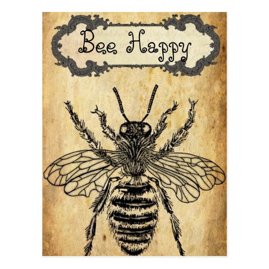 Bee Happy Personalized Postcard