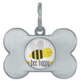 Bee Happy Pet ID Tag