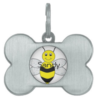 Bee Happy Pet Name Tag