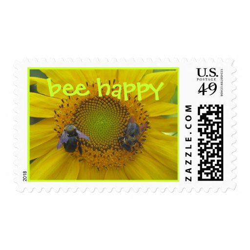 bee happy postage stamps