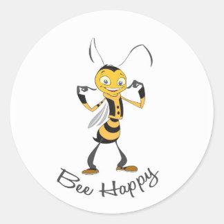Bee Happy Round Stickers
