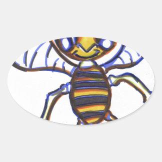 Bee Happy Oval Sticker