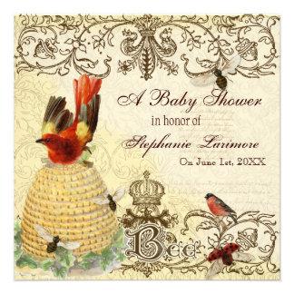Bee Happy Vintage Baby Shower Party Invitation