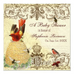 """Bee Happy Vintage, Baby Shower Party Invitation 5.25"""" Square Invitation Card"""