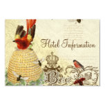 "Bee Happy Vintage - Hotel Information Card 3.5"" X 5"" Invitation Card"