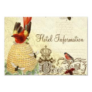 Bee Happy Vintage - Hotel Information Card Invites