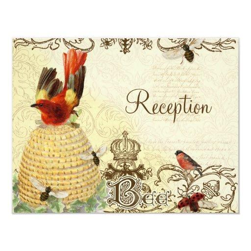 "Bee Happy Vintage - Reception Invitation 4.25"" X 5.5"" Invitation Card"