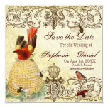 """Bee Happy Vintage - Save the Date Announcement 5.25"""" Square Invitation Card"""