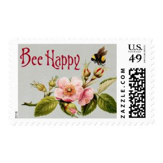 Bee Happy Vintage Stamp 3
