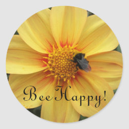 Bee Happy Yellow Floral Classic Round Sticker