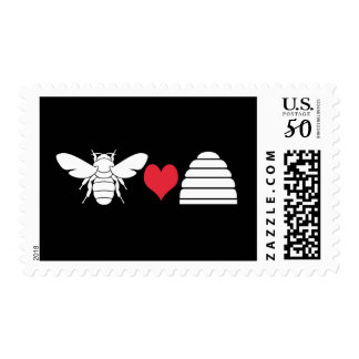 Bee Heart Hive Postage Stamps White