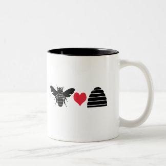 Bee Heart Hive Two-Tone Coffee Mug