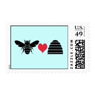 Bee Hearts Beehive Postage Stamp Black