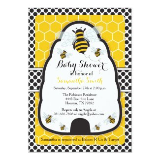 Bee Hive Baby Shower/Birthday Invitation