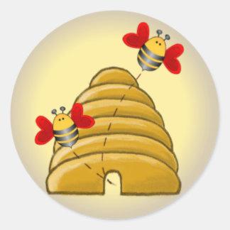 BEE HIVE by SHARON SHARPE Round Sticker