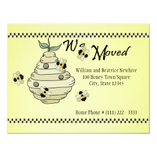"""Bee Hive Change of Address Announcement 4.25"""" X 5.5"""" Invitation Card"""