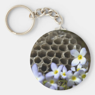 Bee Hive Comb and Flowers Keychain