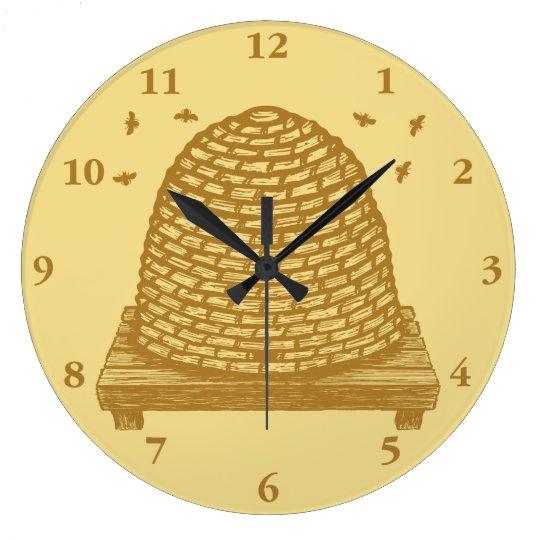Bee Hive Skep Large Clock