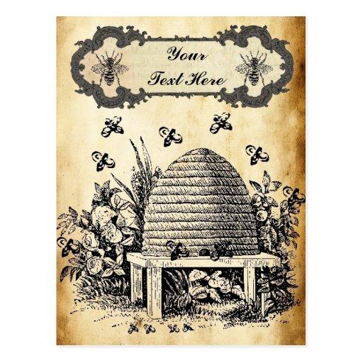 Bee Hive Vintage Personalized Postcard | Zazzle: www.zazzle.com/bee_hive_vintage_personalized_postcard...