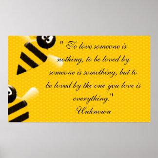 Bee Honey Art Heart Dance Peace Love Destiny Bless Poster