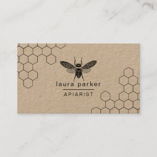 Bee Honey Seller Apiarist Black White Hexagon Business Card